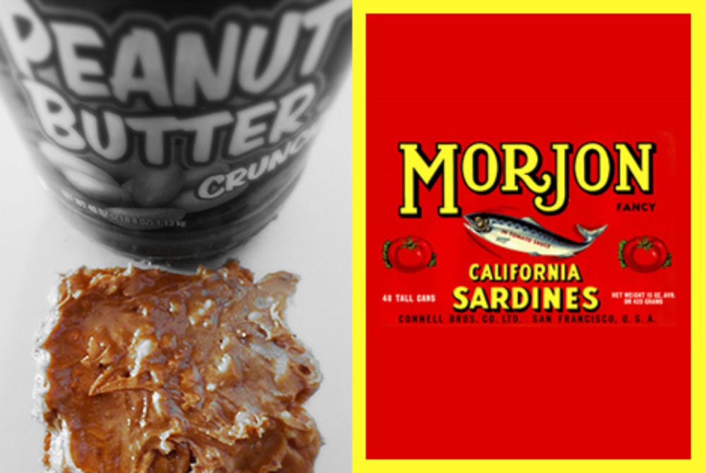 Morjon California Sardines and Peanut Butter Crunch packaging.